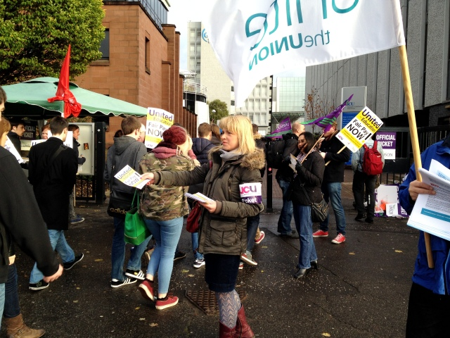UCU, Unison and Unite members out in force