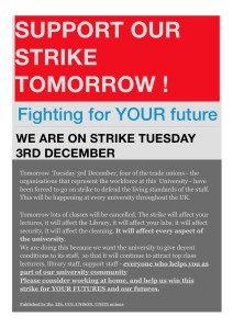 A leaflet was issued the day before the action, asking for student support
