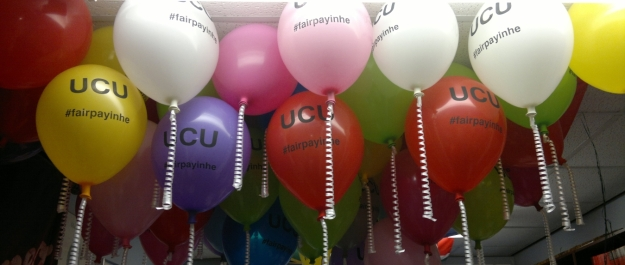 Balloons at the ready before the picket